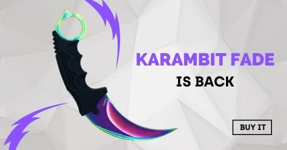 Karambit knife Fade back CSGO